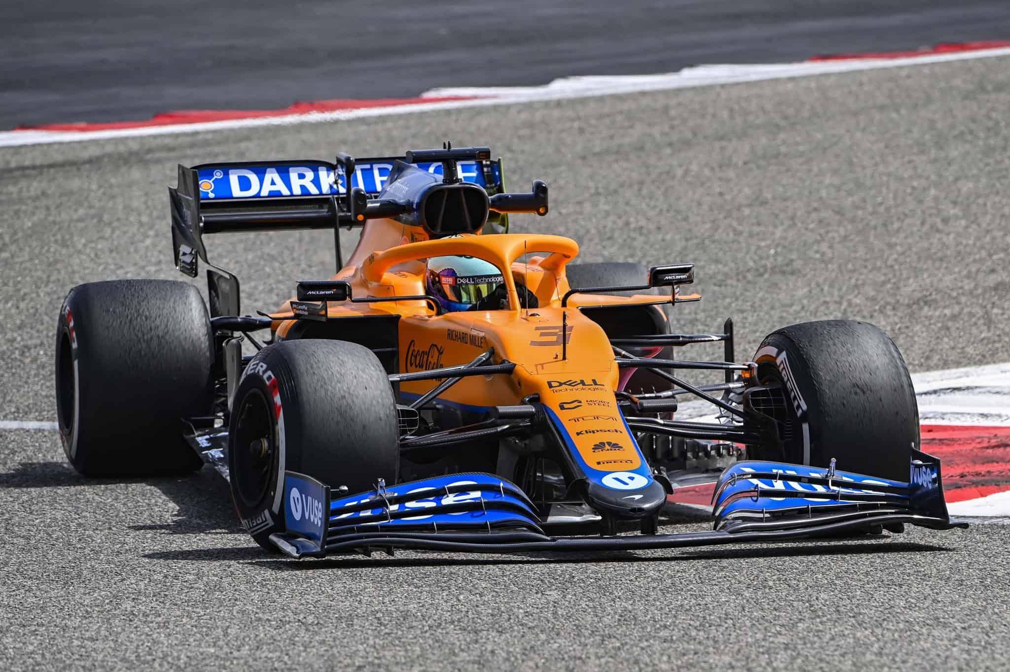 2021 Ricciardo McLaren MCL35M Bahrain testing Day 1 Pirelli C2 Photo McLaren