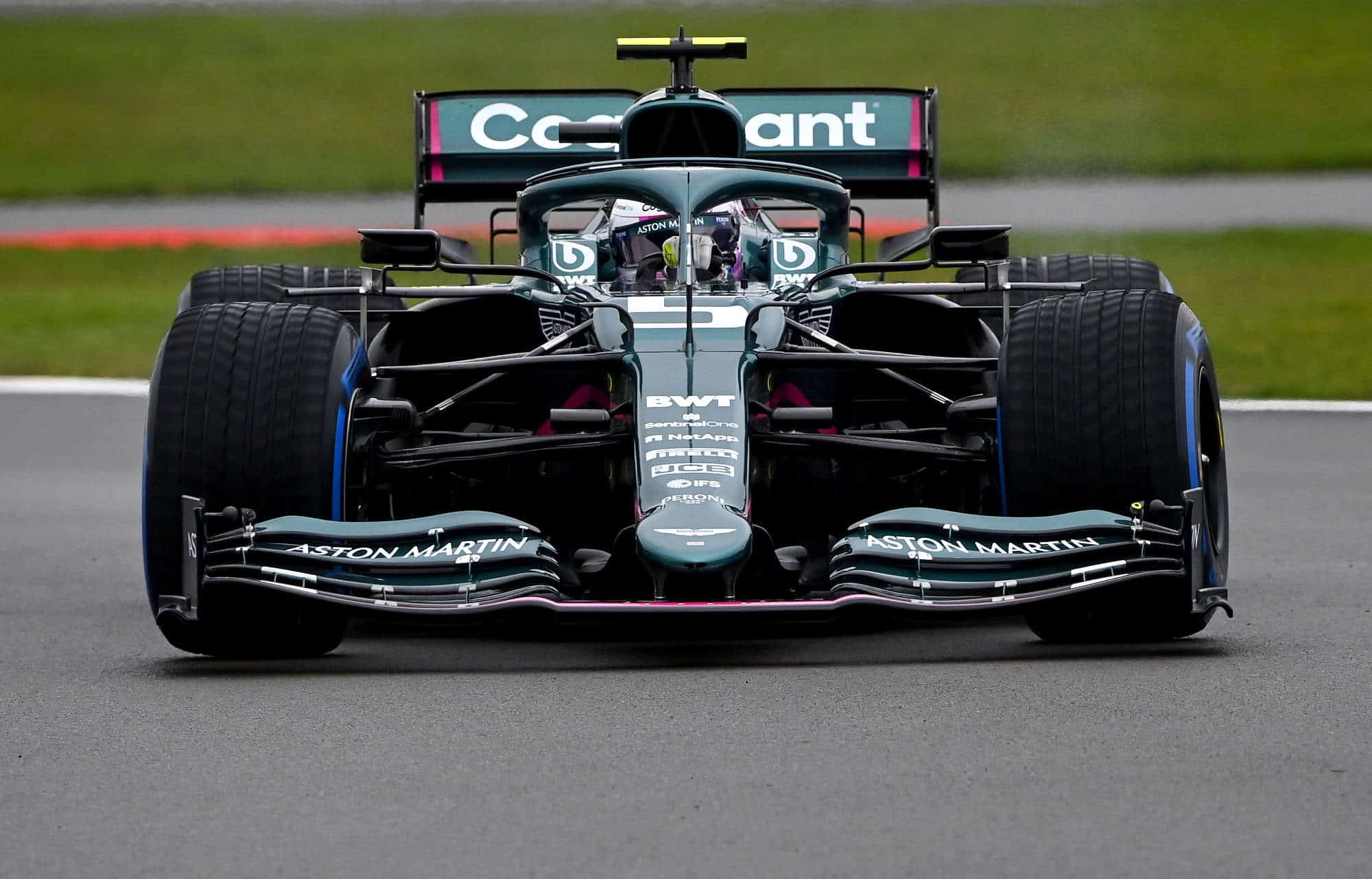 2021 Sebastian Vettel Aston Martin Cognizant F1 Team new 2021 F1 car AMR21 shakedown Silverstone March 4 2021 Photo Aston Martin