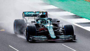 2021 Sebastian Vettel Aston Martin Cognizant F1 Team new 2021 F1 car AMR21 shakedown Silverstone March 4 2021 on the straight Photo Aston Martin