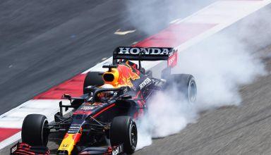 2021 Verstappen Red Bull RB16B locking the wheel on braking Photo Red Bull