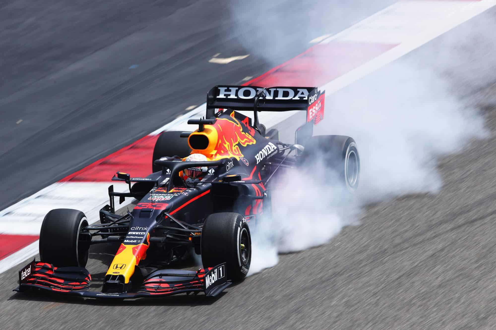 2021 Verstappen Red Bull RB16B locking the wheel on braking Photo Red Bull