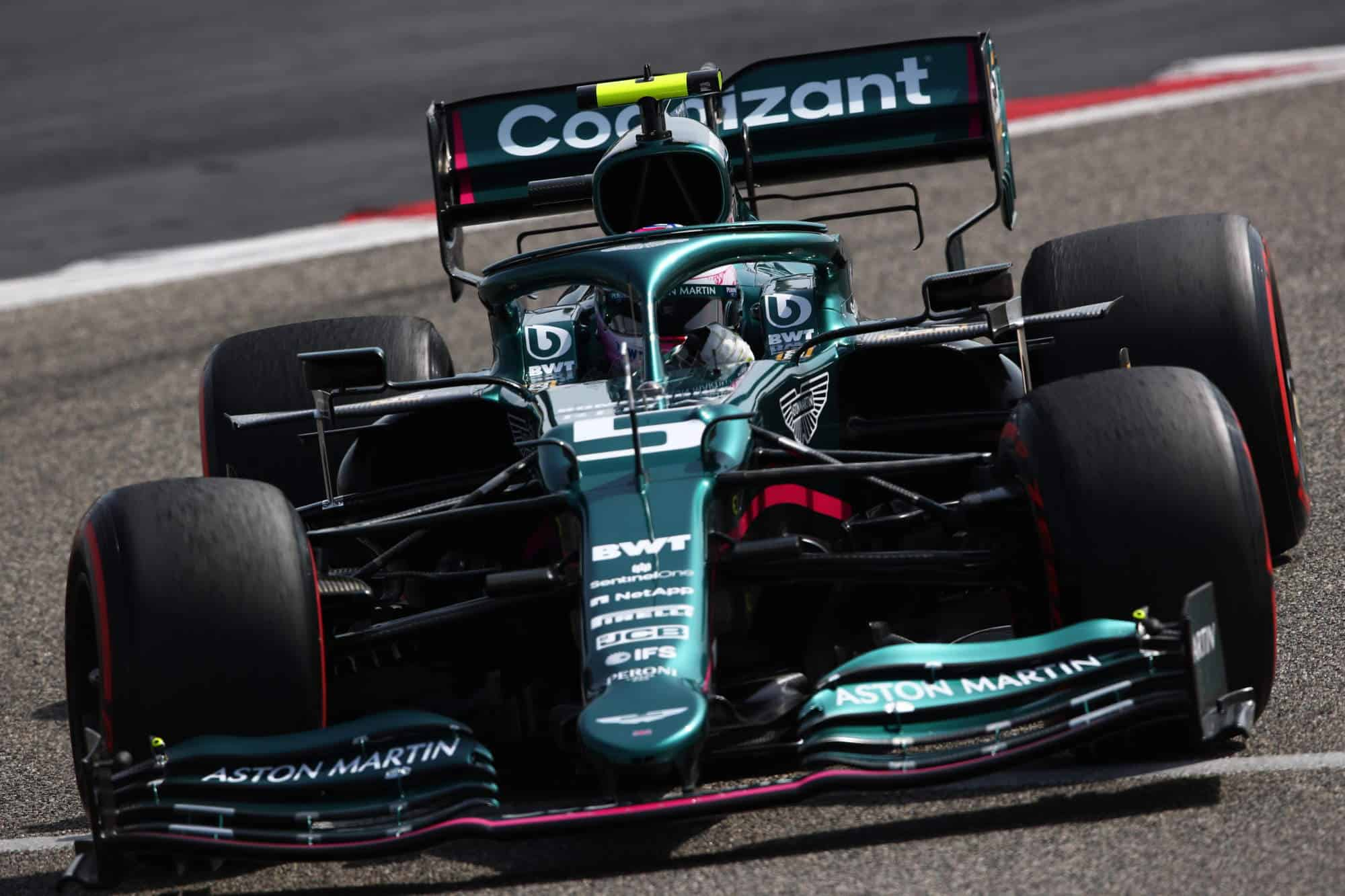 2021 Vettel Aston Martin AMR21 Bahrain testing Day 1 Pirelli C4 Photo Aston Martin