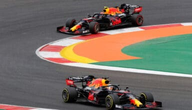 2020 Portugese GP Algarve Portimao Verstappen leads Albon Red Bull Photo Red Bull
