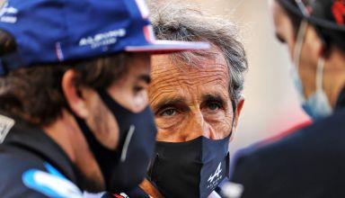 2021 Bahrain GP Alonso and Prost on the grid Photo Alpine