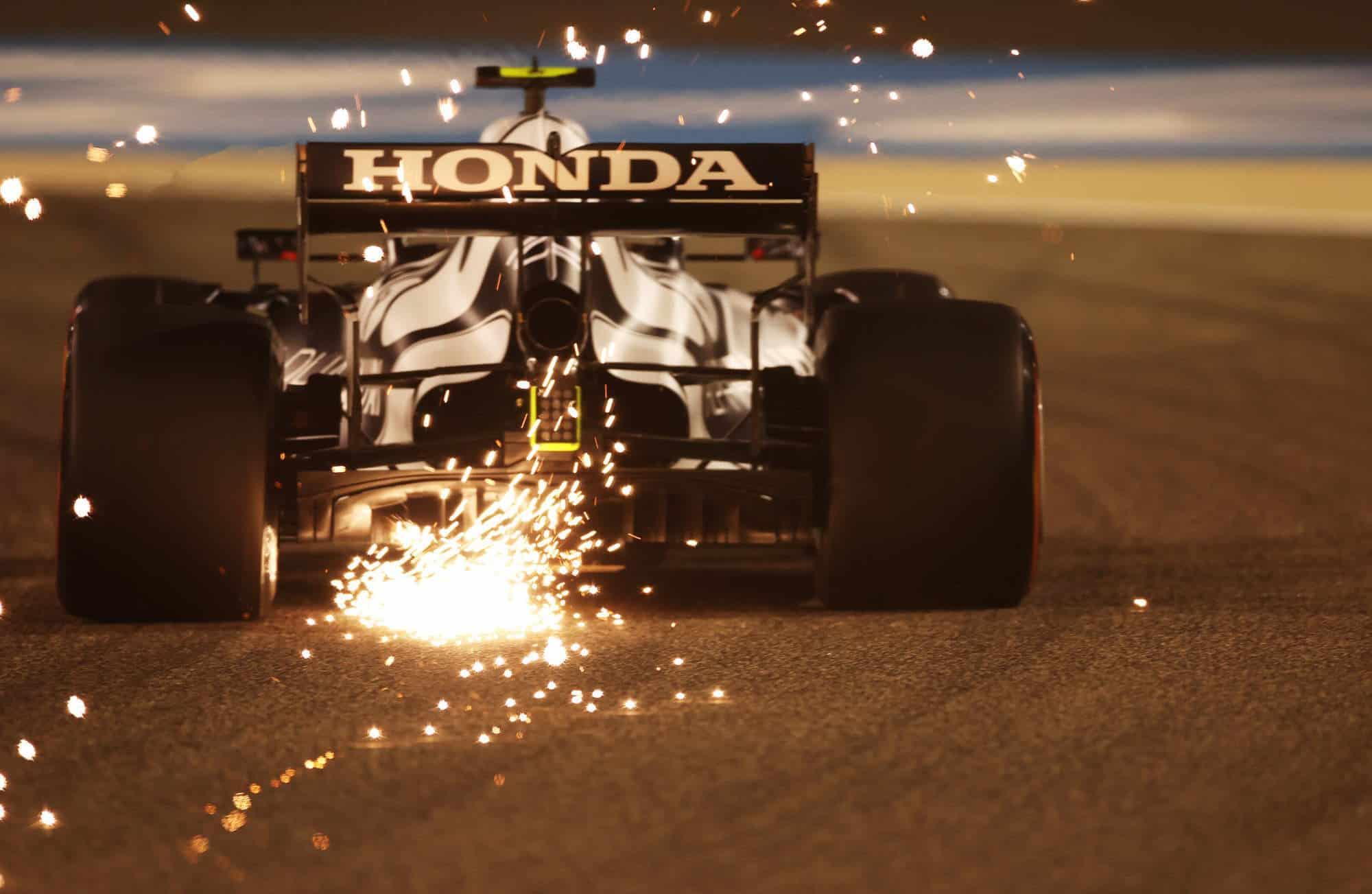 2021 Bahrain GP Gasly AlphaTauri Honda rear end diffuser sparks fly Photo Red Bull