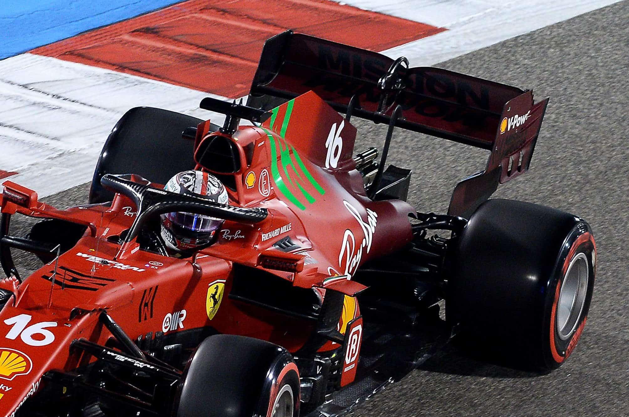 2021 Bahrain GP Leclerc Ferrari SF21 soft C4 Pirelli rear end sidepod Photo Ferrari
