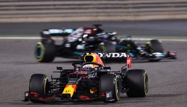 2021 Bahrain GP Verstappen Red Bull leads Hamilton Mercedes on medium Pirelli tyres first stint Photo Red Bull