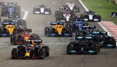2021 Bahrain GP start Verstappen leads Hamilton Bottas Photo Red Bull