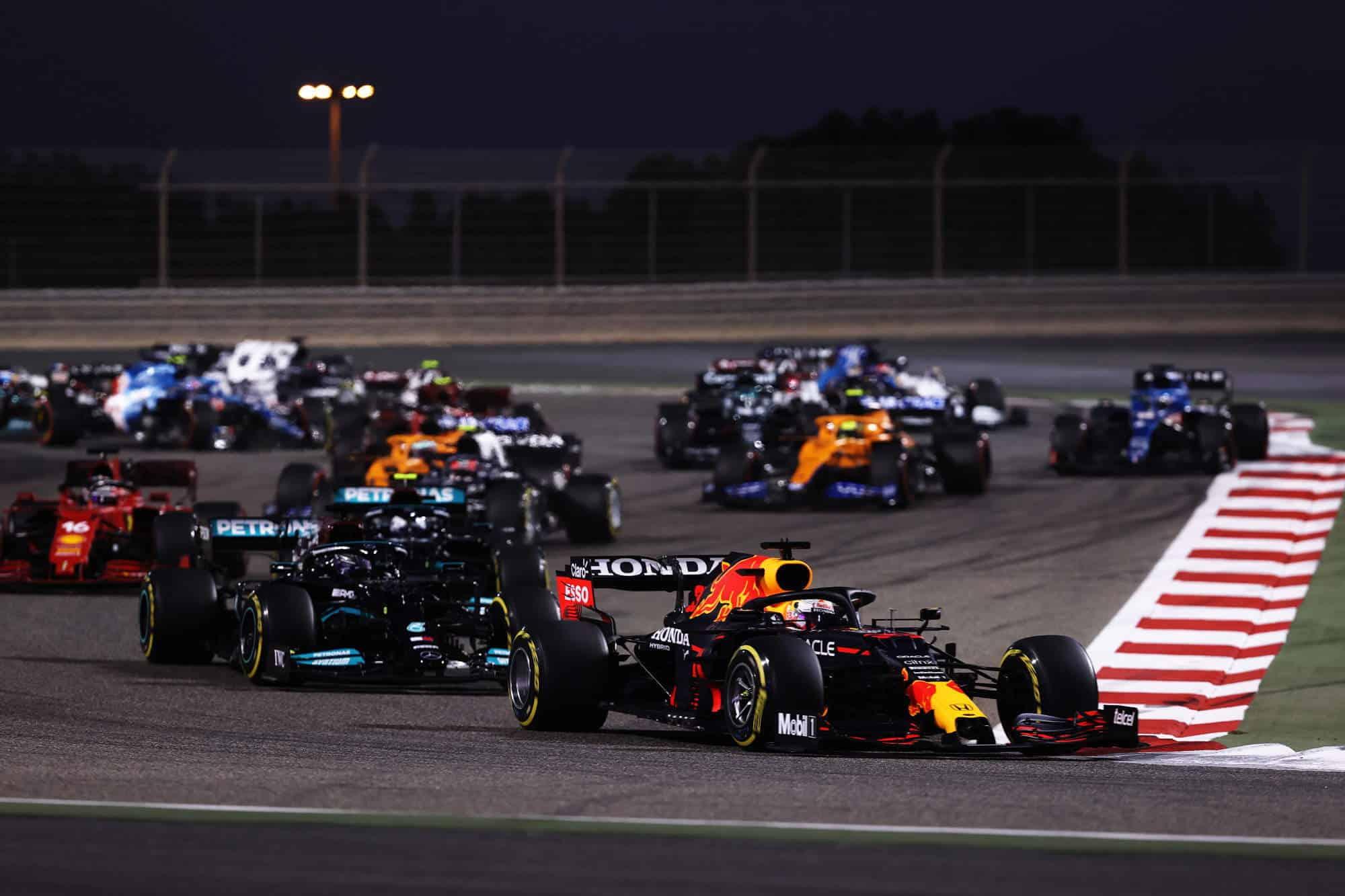 2021 Bahrain GP start of the race Turn 2 Verstappen leads Hamilton Bottas Photo Red Bull
