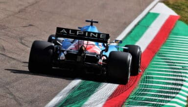 2021 Emilia Romagna GP Alonso Alpine A521 rear end Variante Alta on the kerb FP1 Photo Alpine