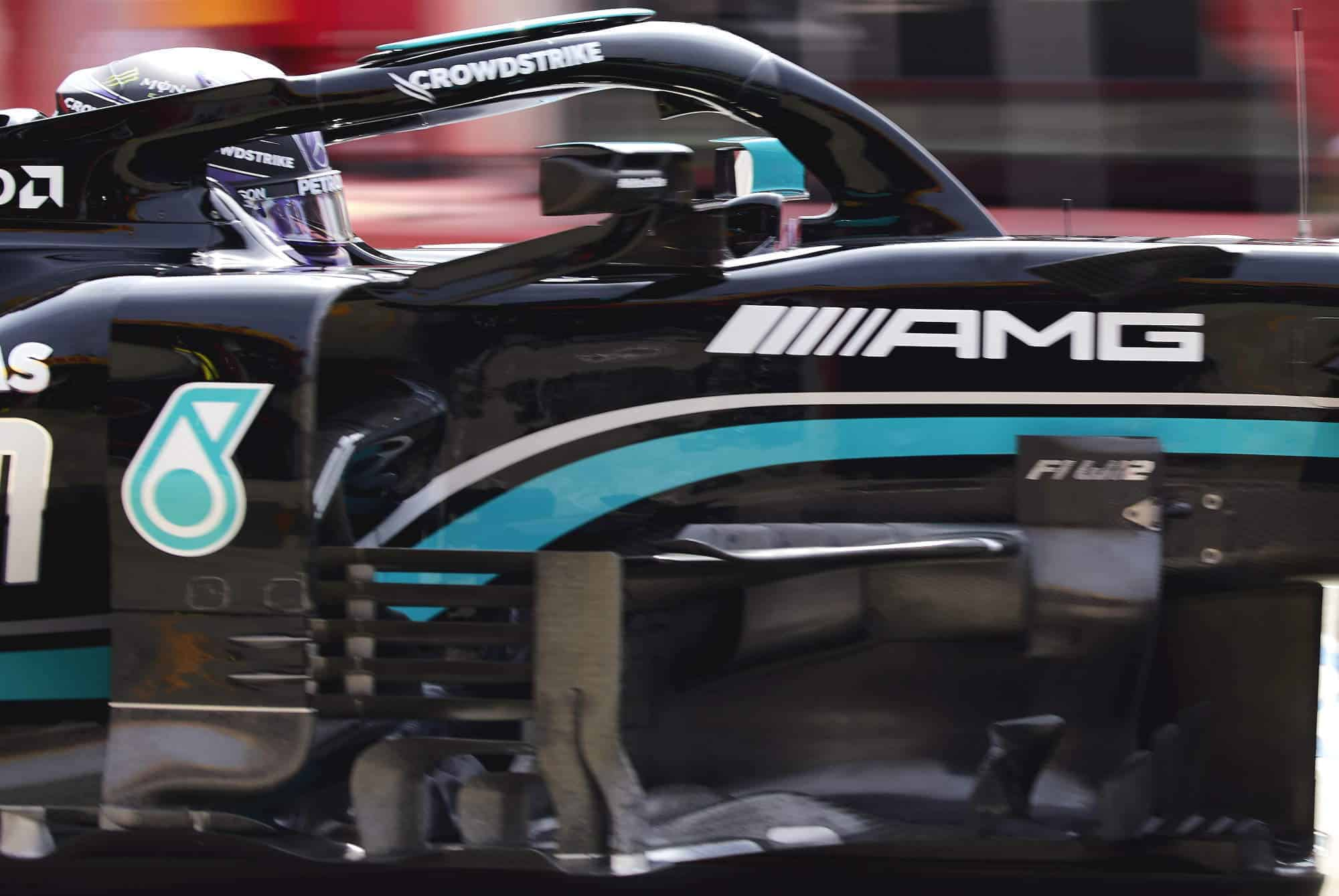 2021 Emilia Romagna GP Hamilton Mercedes F1 W12 side view bargeboards zoom detail tech Photo Daimler Edited by MAXF1net