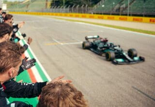 2021 Emilia Romagna GP Hamilton finish line 2nd place Photo Daimler