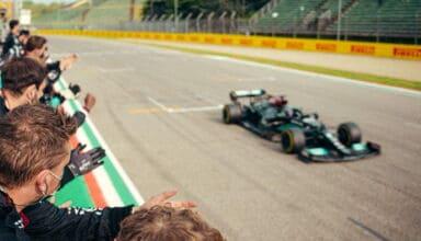 2021 Emilia Romagna GP Hamilton finish line 2nd place Photo Daimler