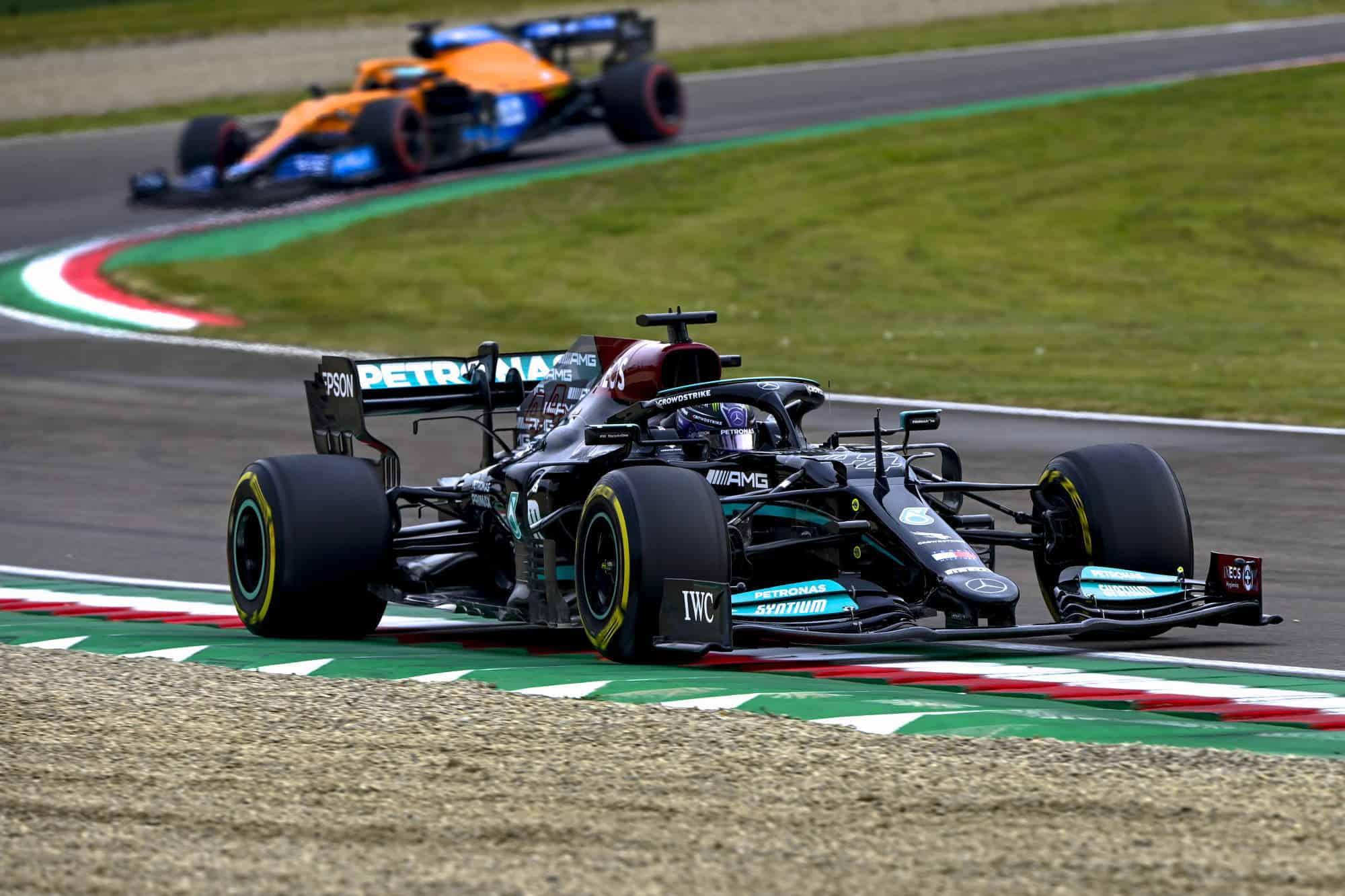 2021 Emilia Romagna GP Hamilton leads Ricciardo Photo Daimler