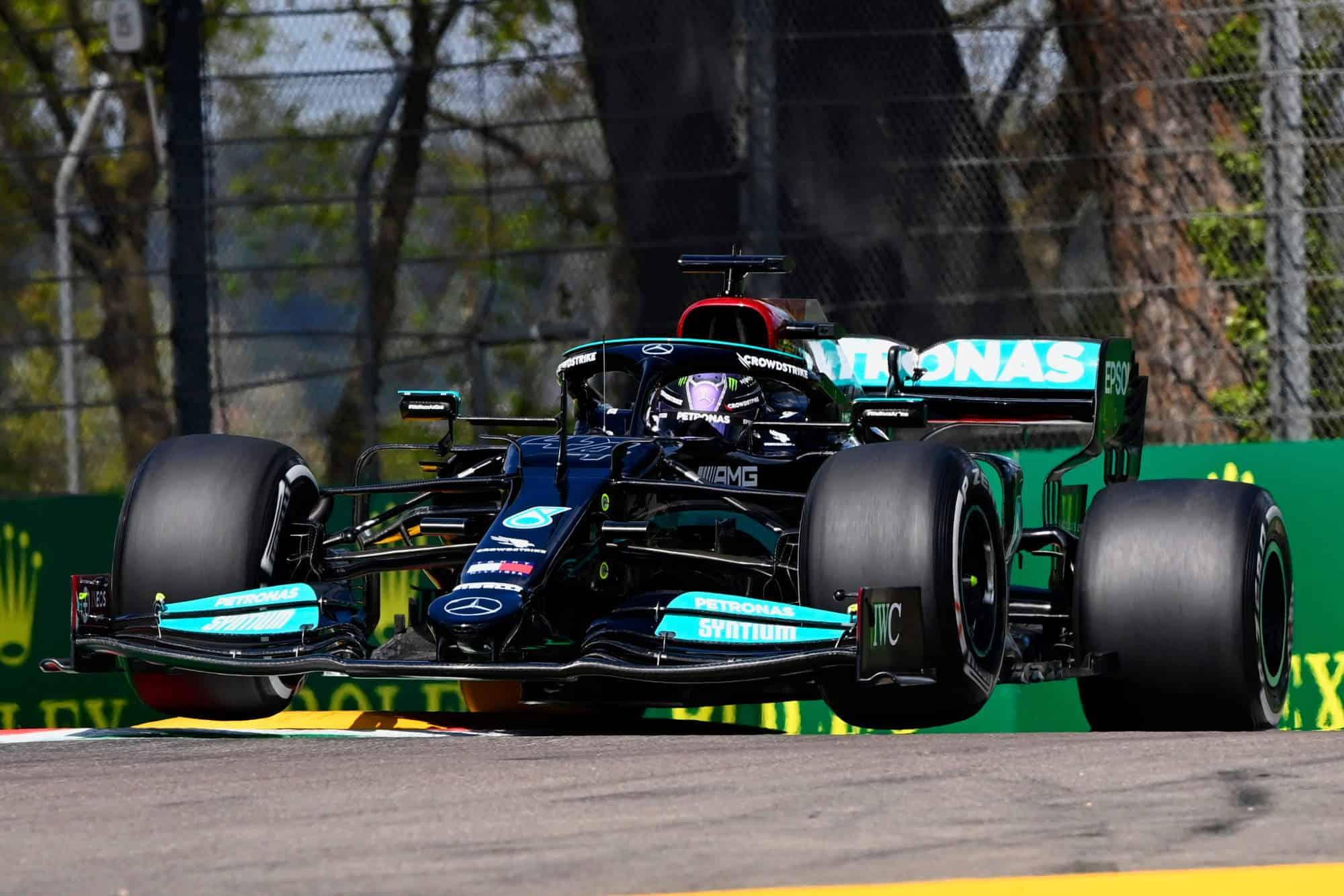 2021 Emilia Romagna GP Imola Hamilton Mercedes F1 W12 in the air Variante Alta FP1 hard Pirelli tyres C2 Photo Daimler
