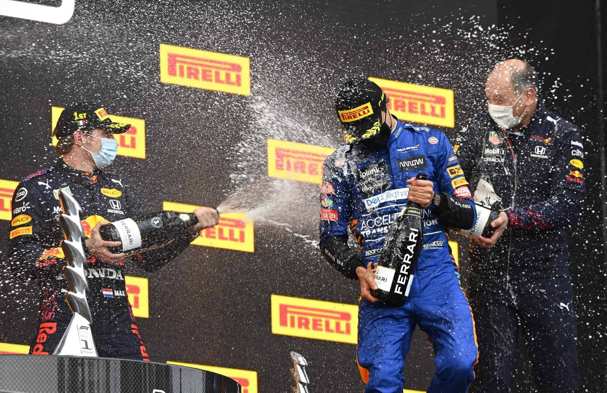 2021 Emilia Romagna GP Imola Norris and Verstappen on the podium Photo McLaren