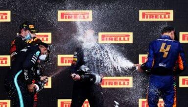 2021 Emilia Romagna GP Imola podium champagne Verstappen Hamilton Norris Photo Red Bull