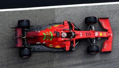2021 Emilia Romagna GP Leclerc in the pitlane top overhead shot Photo Ferrari