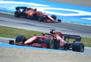 2021 Emilia Romagna GP Leclerc leads Sainz Acque Mirenalli Photo Ferrari