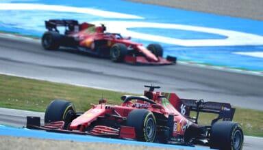 2021 Emilia Romagna GP Leclerc leads Sainz Acque Mirenalli Photo Ferrari