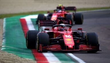 2021 Emilia Romagna GP Leclerc leads Sainz in the race Photo Ferrari