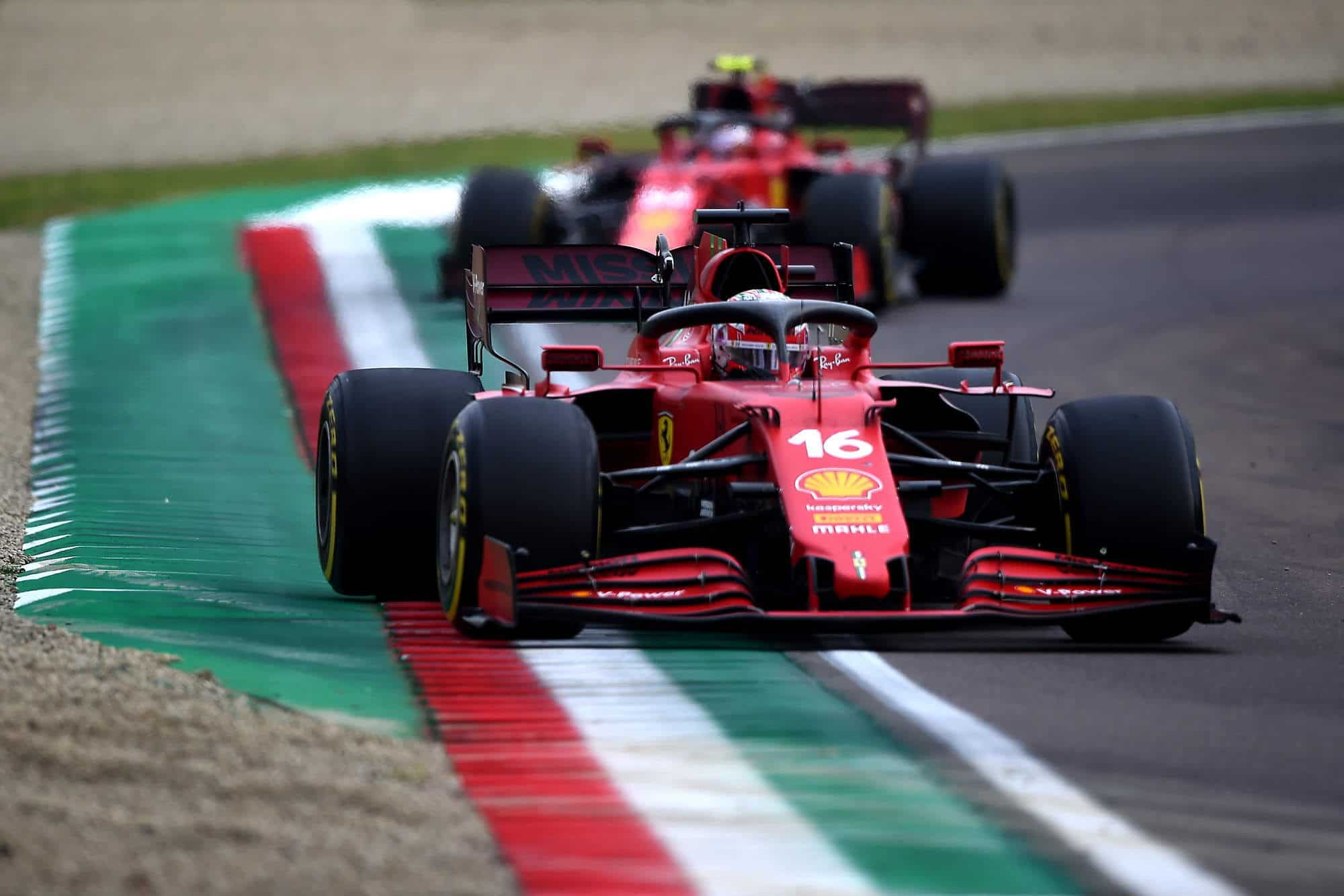 2021 Emilia Romagna GP Leclerc leads Sainz in the race Photo Ferrari