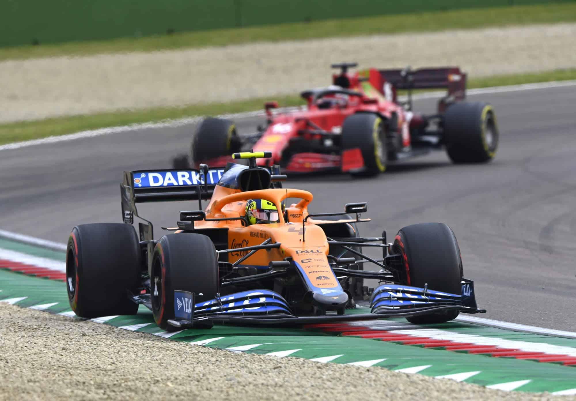 2021 Emilia Romagna GP Norris leads Leclerc in the race Photo McLaren