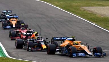 2021 Emilia Romagna GP Norris leads Perez Sainz Ricciardo Stroll Photo McLaren