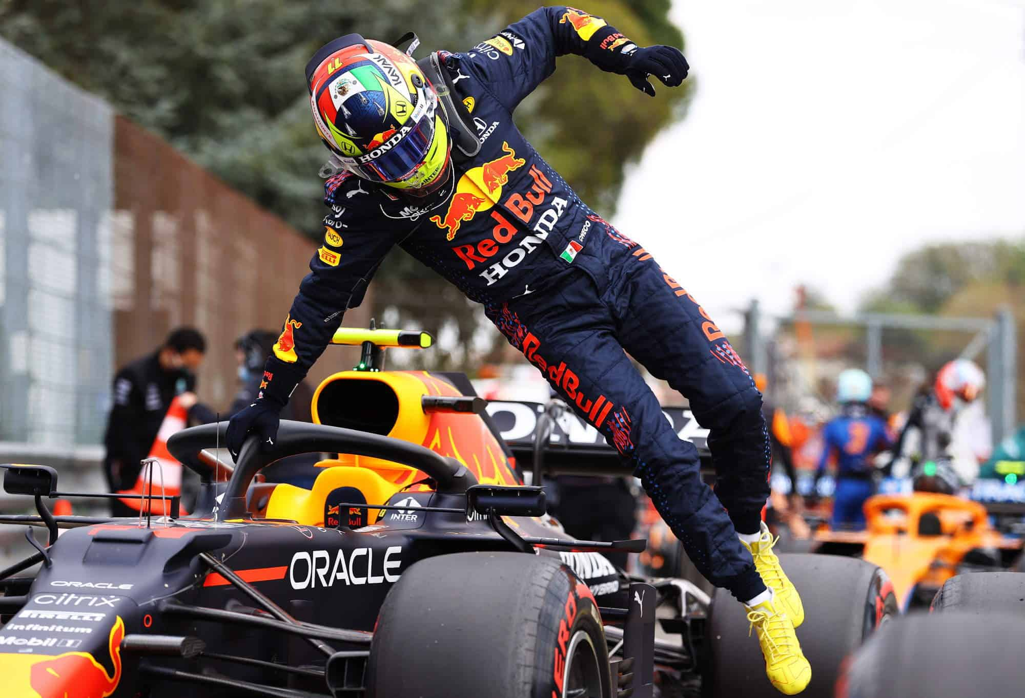 2021 Emilia Romagna GP Perez after qualifying jumping out of the car Photo Red Bull