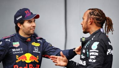 2021 Emilia Romagna GP Perez and Hamilton after qualifying Photo Red Bull