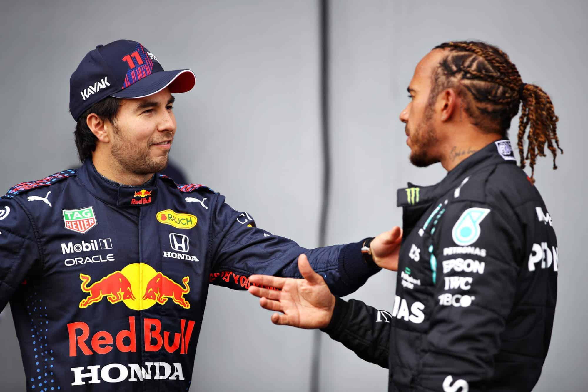2021 Emilia Romagna GP Perez and Hamilton after qualifying Photo Red Bull