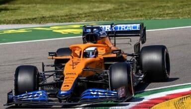 Daniel Ricciardo, McLaren MCL35M, car entering corner