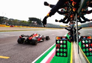 2021 Emilia Romagna GP Verstappen Red Bull RB16B finish line celebration Photo Red Bull