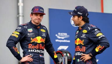 2021 Emilia Romagna GP Verstappen and Perez after qualifying Photo Red Bull