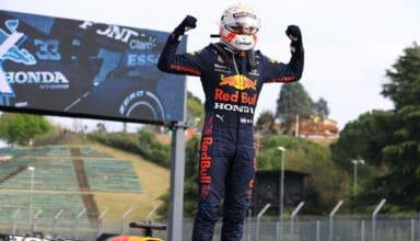 2021 Emilia Romagna GP Verstappen celebrates victry at Imola Photo Red Bull