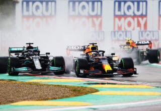 2021 Emilia Romagna GP Verstappen vs Hamilton first lap Photo Red Bull