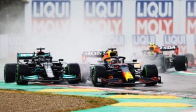 2021 Emilia Romagna GP Verstappen vs Hamilton first lap Photo Red Bull