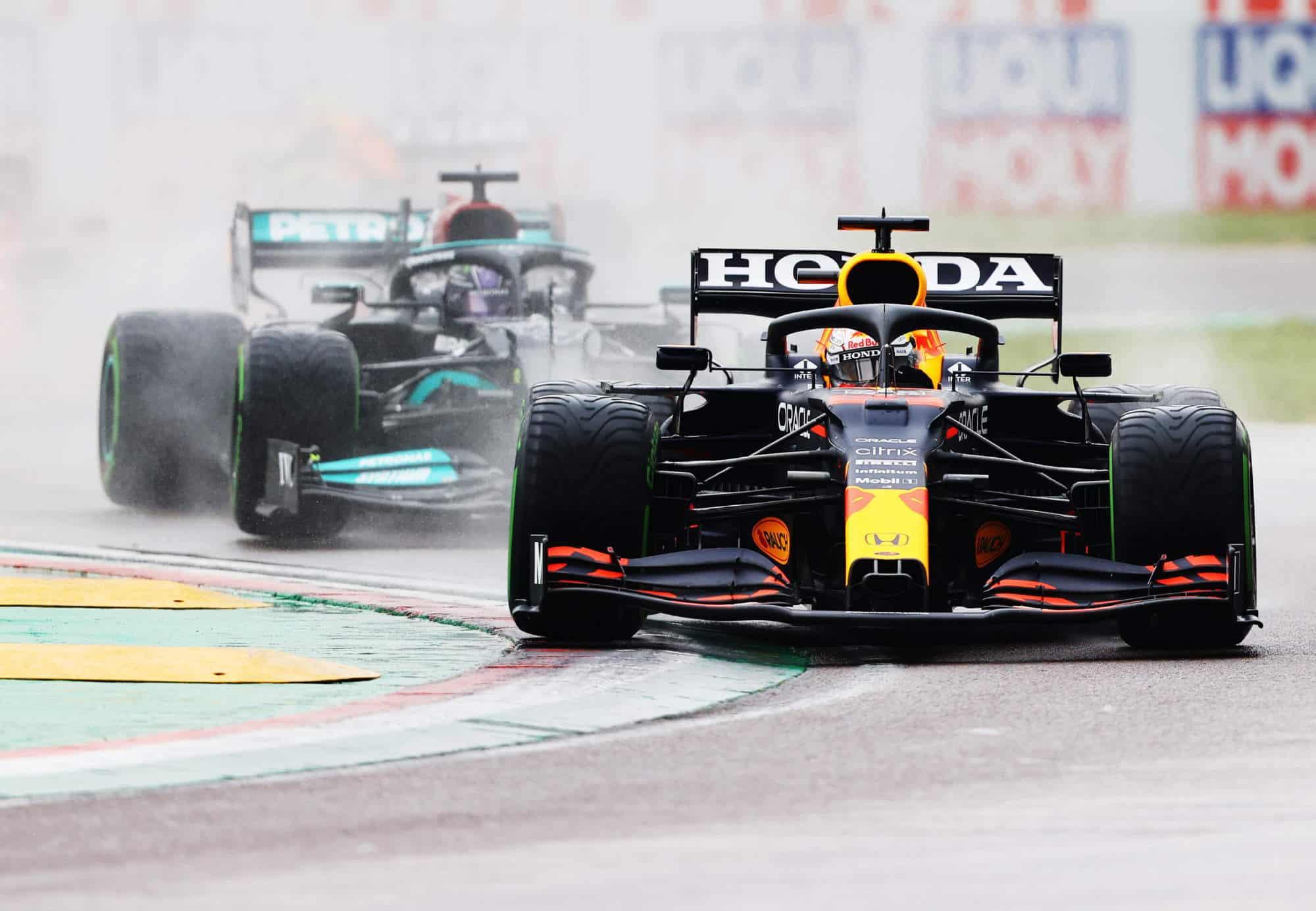 2021 Emilia Romagna GP Verstappen vs Hamilton first lap battle 2 Photo Red Bull