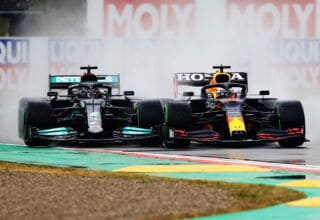 2021 Emilia Romagna GP Verstappen vs Hamilton first lap battle Photo Red Bull