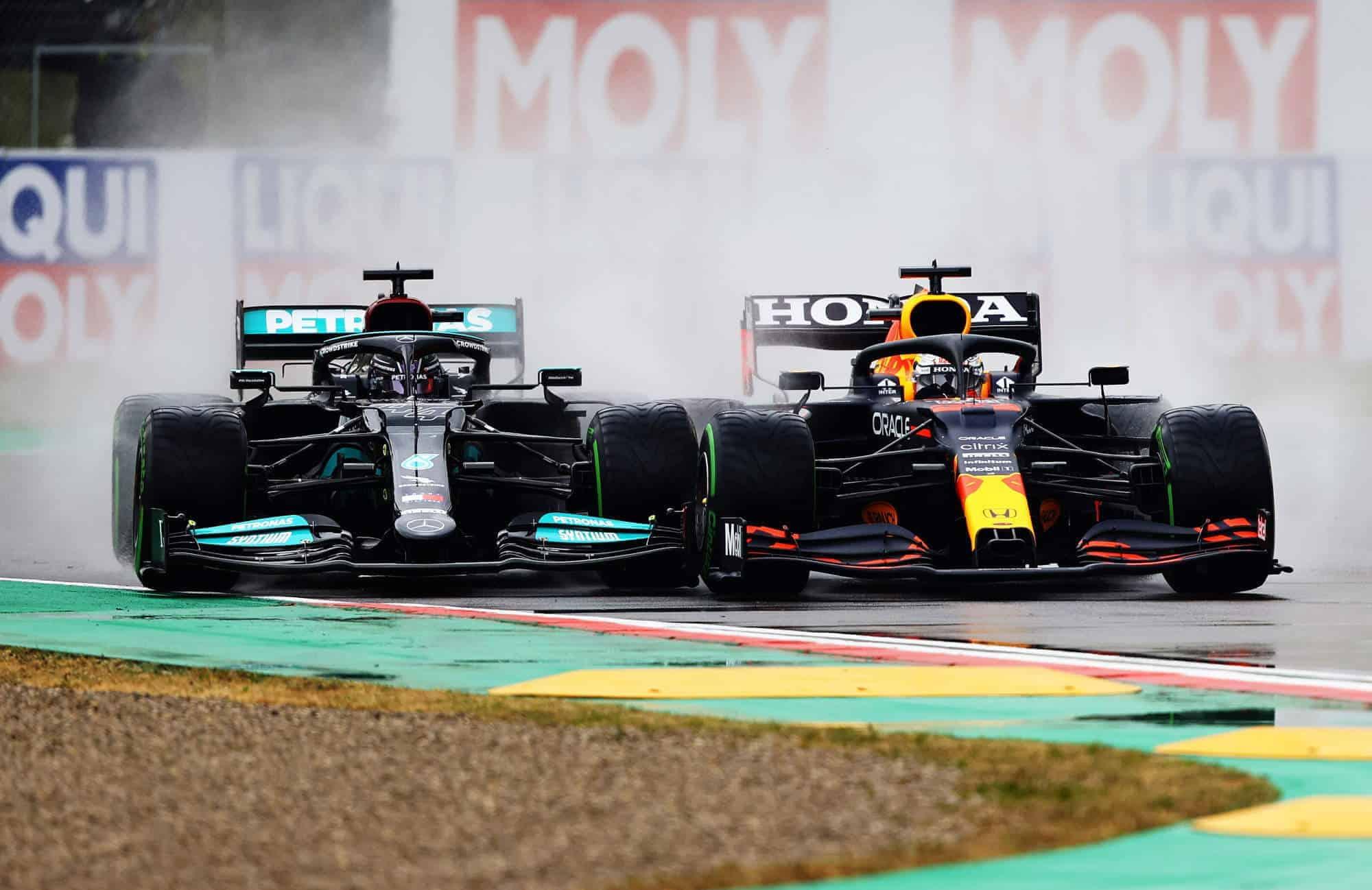 2021 Emilia Romagna GP Verstappen vs Hamilton first lap battle Photo Red Bull