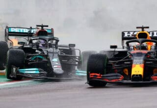 2021 Emilia Romagna GP Verstappen vs Hamilton first lap battle close zoom Photo Red Bull