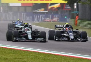 2021 Emilia Romagna GP Vettel battles Gasly in the race Photo Pirelli