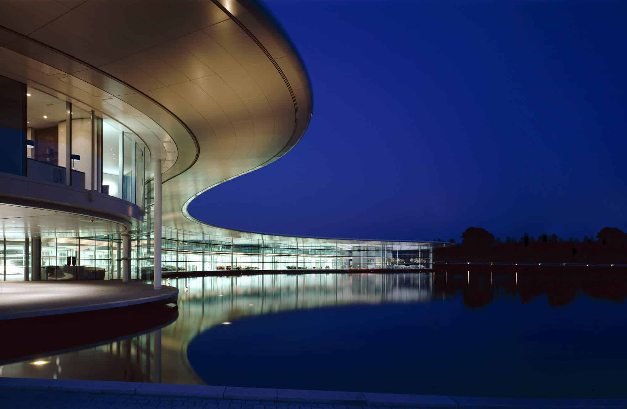 McLaren Technology Centre MTC Exterior Night retouch Extended Photo McLaren