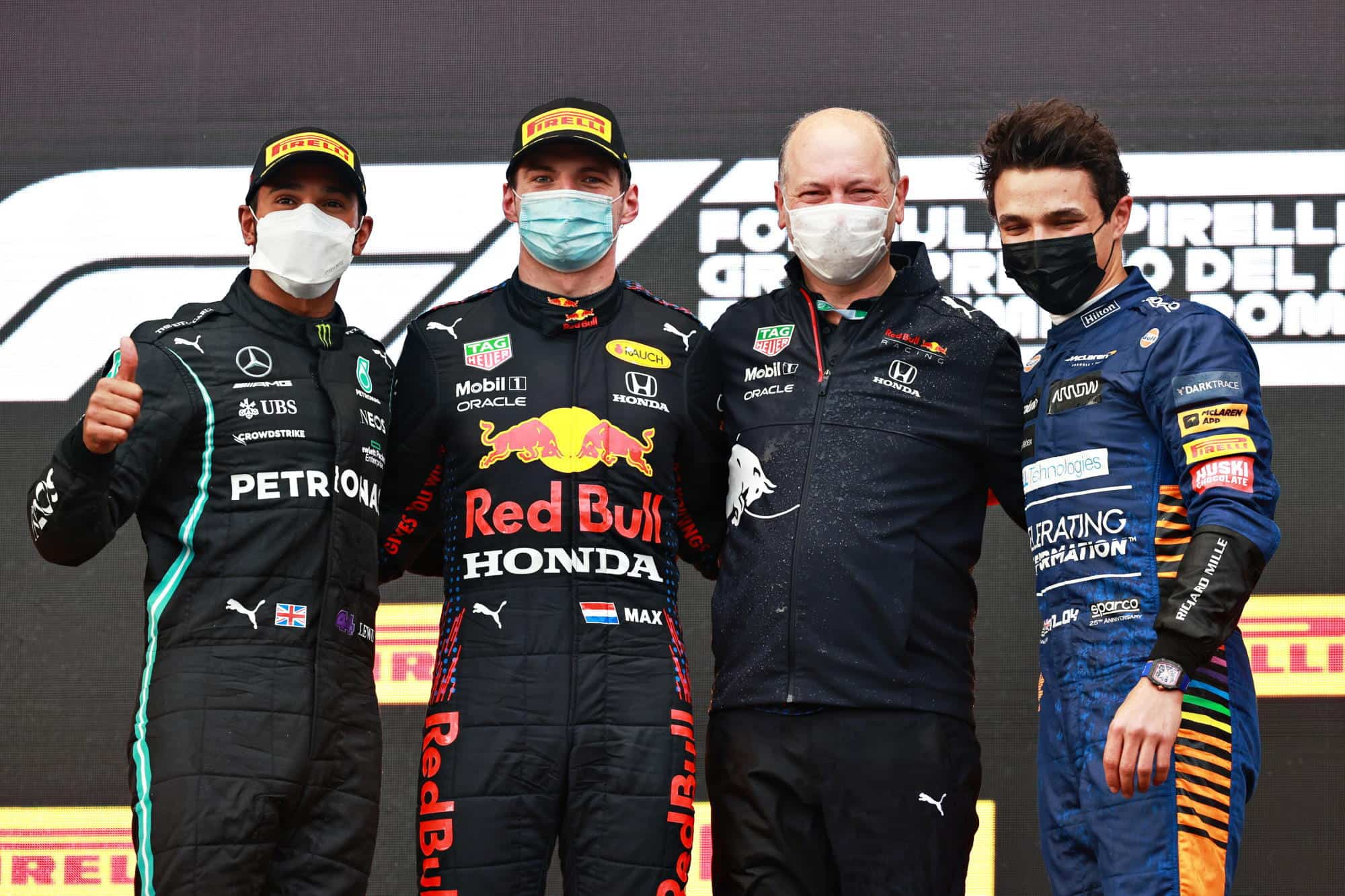 2021 Emilia Romagna GP Podium Verstappen Hamilton Norris Photo Red Bull