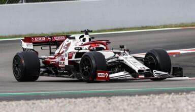 2021 In-Season Test - Spain Kubica 2019 Alfa Romeo C38 18-inch Pirelli tyres with rear wheel covers Photo Alfa Romeo