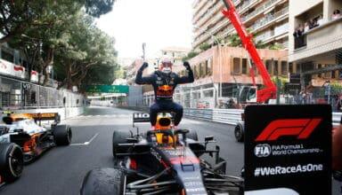 2021 Monaco GP Verstappen Red Bull celebrates victory Photo Red Bull