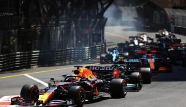 2021 Monaco GP Verstappen Red Bull leads the start Photo Red Bull