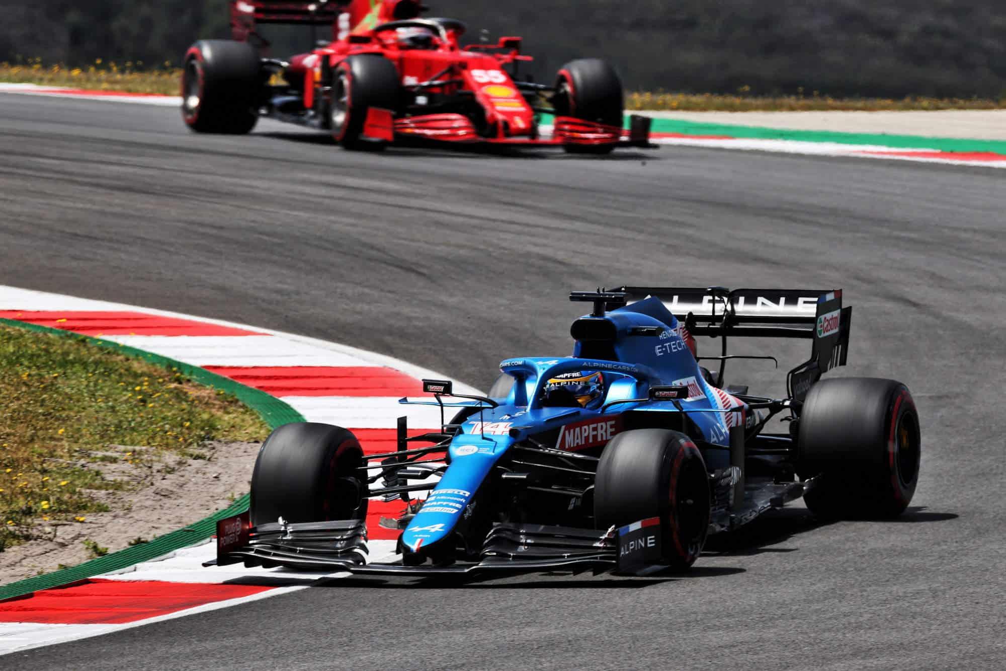 2021 Portuguese GP Alonso leads Sainz in the race Photo Alpine