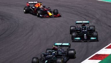 2021 Portuguese GP Bottas Mercedes leads Hamilton Mercedes and Verstappen Red Bull Photo Red Bull