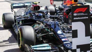 2021 Portuguese GP Bottas Mercedes pole parc ferme 1st Photo Daimler
